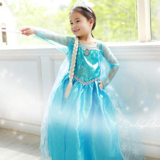 frozen girl-snow-queen-elsa-costumes-dress